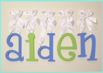 Alphabet Boutique wooden hanging wall letters w/ white satin ribbon painted blue and lime for baby shower gift
