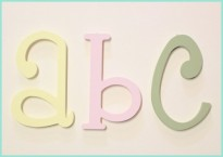 Painted Wood Wall Letters Pastel Yellow, Light Pink, Light Sage Whimsical Font Baby Room Decor