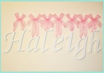 White Painted Art Script Font Wood Wall Letters w/ Sheer Pink Satin Ribbon. Baby Shower Gift Idea