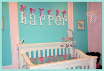 Aqua Baby Nursery w/ White Painted Whimsical Wall Letters w/ Azalea Satin Ribbon From Alphabet Boutique