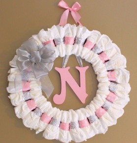 Diaper Wreath Baby Shower Gift Pink Ribbon Baby Pampers Nursery Decor Wall
